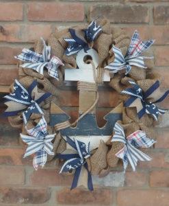 "Nautical Anchor Blue 16"" Burlap Wreath"