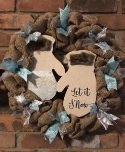 "Let It Snow Winter 16"" Burlap Wreath"