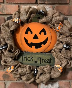 "Trick or Treat Halloween Pumpkin 16"" Burlap Wreath"