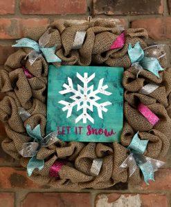 "Winter Let It Snow 16"" Burlap Wreath"