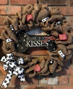 """Beware of Dog Kisses 16"""" Burlap Wreath"""