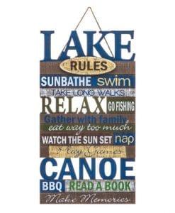 Lake Rules 10 X 18.5 Wood Wall Sign