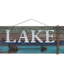 Lake with Arrow 15.25 X 7.25 Home Decor Wood Sign