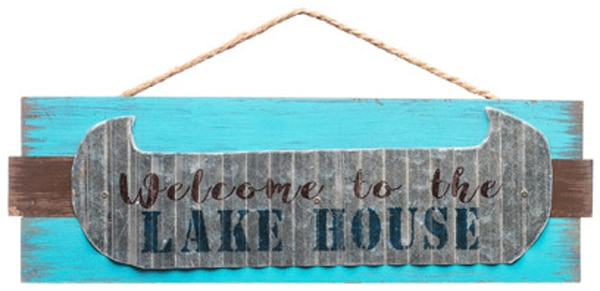 """Welcome To The Lake House 18.75"""" X 6"""" Wood Sign"""