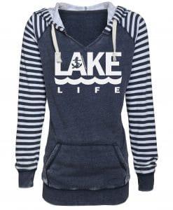 Lake Life Women's Navy Anchor Striped Chalk Fleece Hoodie