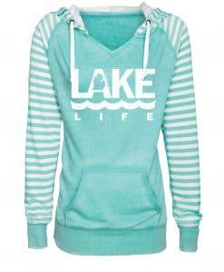 Michigan Lake Life Women's Seaglass Striped Chalk Fleece Hoodie