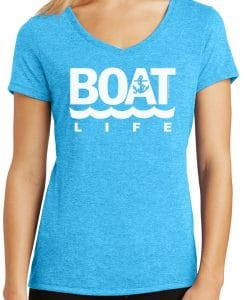 Boat Life Women's Turquoise Anchor V-Neck T-Shirt Tee