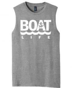 Boat Life Men's Gray Anchor Tank Top Sleeveless Tee