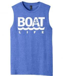 Boat Life Men's Blue Frost Anchor Tank Top Sleeveless Tee