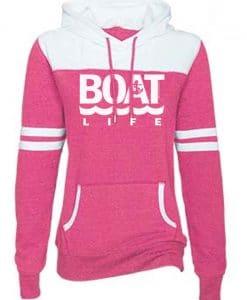Boat Life Women's Pink Anchor Varsity Fleece Hoodie
