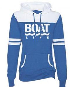 Boat Life Women's Blue Anchor Varsity Fleece Hoodie