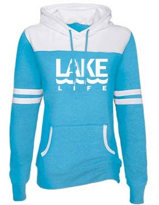 Michigan Lake Life Women's Turquoise Varsity Fleece Hoodie