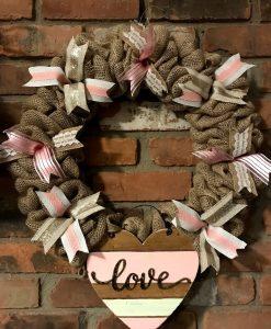 """Heart Love Pink 16"""" Burlap Wreath Door Decor"""