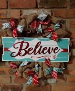"""Believe 16"""" Burlap Christmas Wreath Door Decor"""