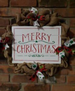"""Merry Christmas 16"""" Burlap Wreath Door Decor"""