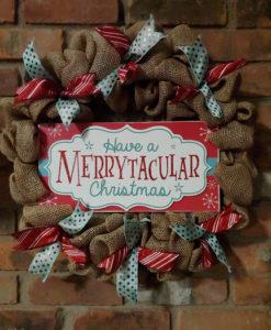 Merrytacular Christmas 16 Burlap Wreath Door Decor