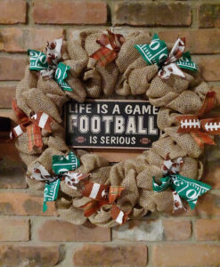 """Life is a Game Football Is Serious 16"""" Fall Burlap Wreath"""