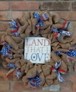 "Land That I Love Red White Blue 16"" Burlap Wreath Door Decor"