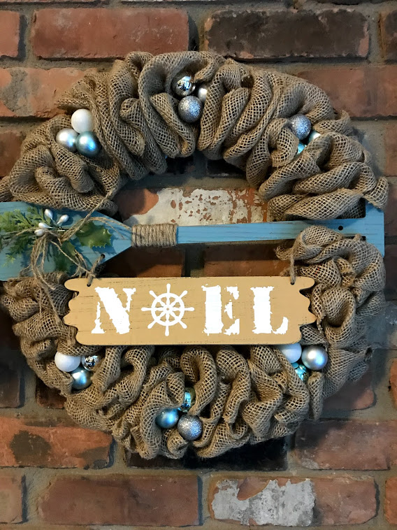 Nautical Christmas Wreath.Noel 16 Nautical Burlap Christmas Wreath