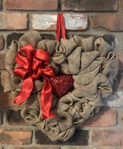 """Bling Heart Shaped 15"""" Burlap Wreath"""