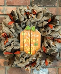 """Tis the Season to Be Thankful Thanksgiving 16"""" Burlap Wreath"""