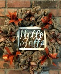 "Hello Fall 16"" Burlap Wreath Door Decor"