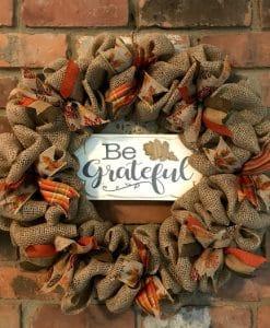 "Be Grateful Thanksgiving 16"" Burlap Wreath"