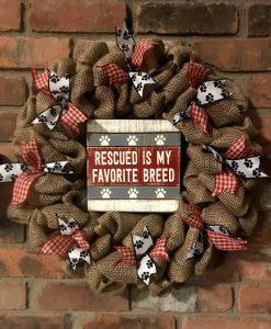 """Rescued Is My Favorite Breed 16"""" Burlap Wreath"""