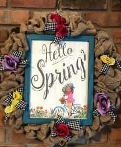 "Hello Spring 18"" Burlap Wreath Door Decor"