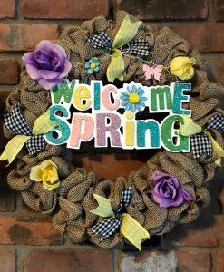 """Welcome Spring 16"""" Burlap Wreath Door Decor"""
