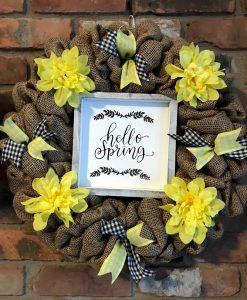 """Hello Spring Yellow Flower 16"""" Burlap Wreath Door Decor"""