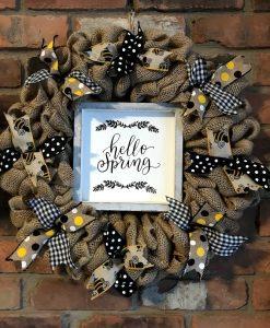 """Hello Spring Bee 16"""" Burlap Wreath Door Decor"""