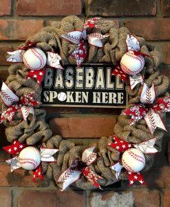 """Baseball Spoken Here 16"""" Burlap Wreath Door Decor"""