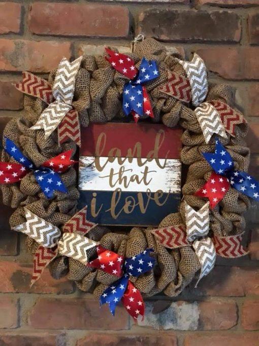 "Land That I Love 16"" Burlap Wreath Door Decor"