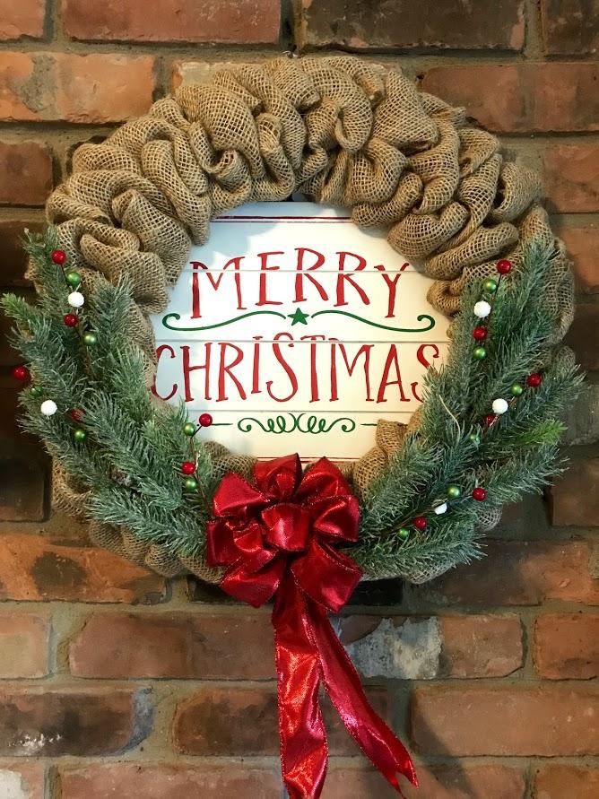 merry christmas red ribbon 16 burlap wreath door decor - Christmas Burlap Wreath