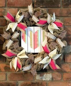 """Valentine's Day Heart 16"""" Burlap Wreath Door Decor"""