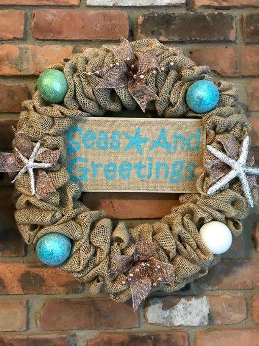 "Seas and Greetings 16"" Nautical Burlap Christmas Wreath"