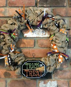 """Trick or Treat 16"""" Burlap Halloween Wreath Door Decor"""