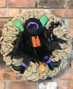 """Halloween Witch 16"""" Burlap Wreath Door Decor"""