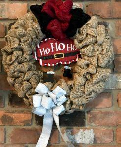 """Ho Ho Ho Christmas 14"""" Burlap Wreath Door Decor"""