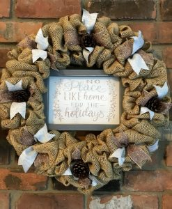 """No Place Like Home For The Holidays 16"""" Christmas Burlap Wreath"""