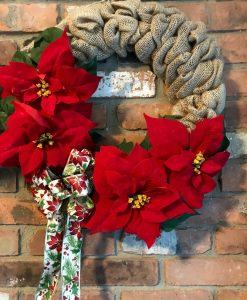 "Poinsettia Red Flowers 16"" Burlap Christmas Wreath Door Decor"