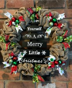 """Have Yourself A Merry Little Christmas 16"""" Burlap Wreath"""