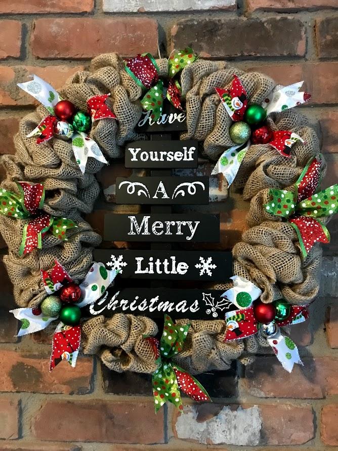 merry little christmas 16 burlap wreath door decor - Christmas Burlap Wreath