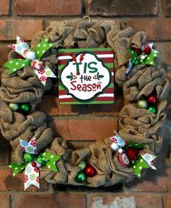 "Tis the Season 16"" Burlap Christmas Wreath Door Decor"