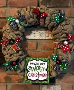 """We Wish You a Merry Christmas 16"""" Burlap Wreath Door Decor"""