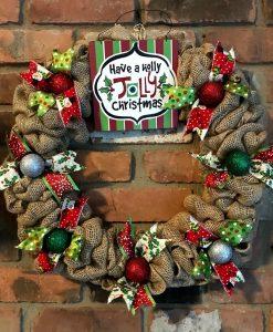 """Have a Holly Jolly Christmas 16"""" Burlap Wreath Door Decor"""