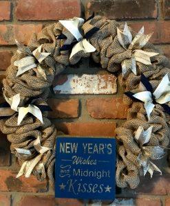 """New Year's Wishes 16"""" Burlap Wreath Door Decor"""