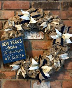 """New Year's Wishes #2 16"""" Burlap Wreath Door Decor"""
