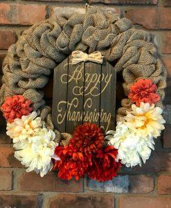 "Happy Thanksgiving 16"" Fall Burlap Wreath Door Decor"